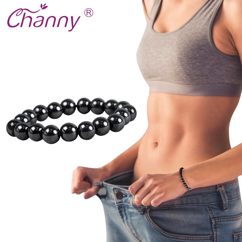 Channy 1 Pc Magnetic Therapy Bracelet Black Stone Weight Loss Health Care Slimming Product