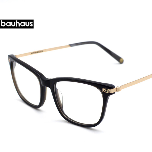 0e99e07f7af bauhaus 2018 New Eyeglasses frame acetate Metal eyewear square full frame  optical prescription glasses plain glasses