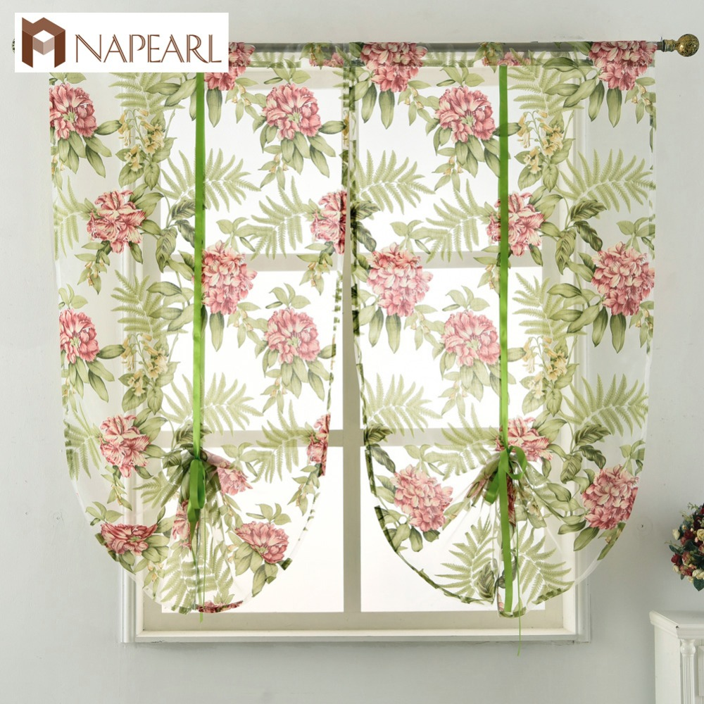 Kitchen Curtain Sheer Organza Fabric Green Short Curtain Door Window ...