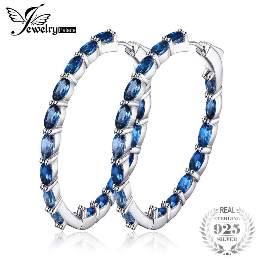 JewelryPalace Enorme 13.5ct Naturale Londun Blu Topazs Orecchini A Cerchio Argento 925 Gioielleria Raffinata Per Le Donne 2018 di Design di Lusso