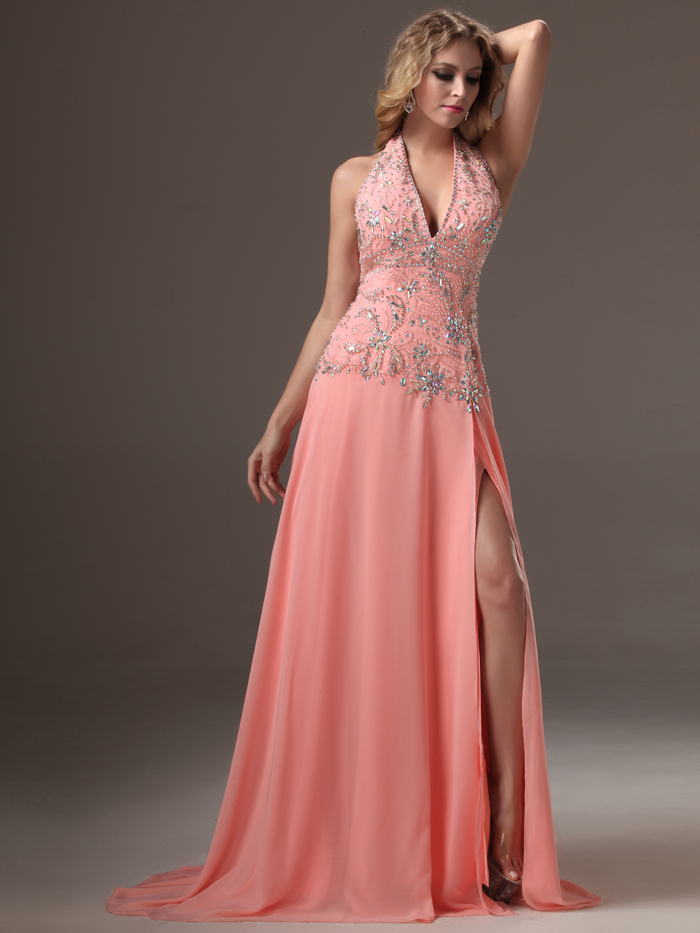 robe de soiree 2017 Sparkle Coral Long Evening Dresses Gowns For ...