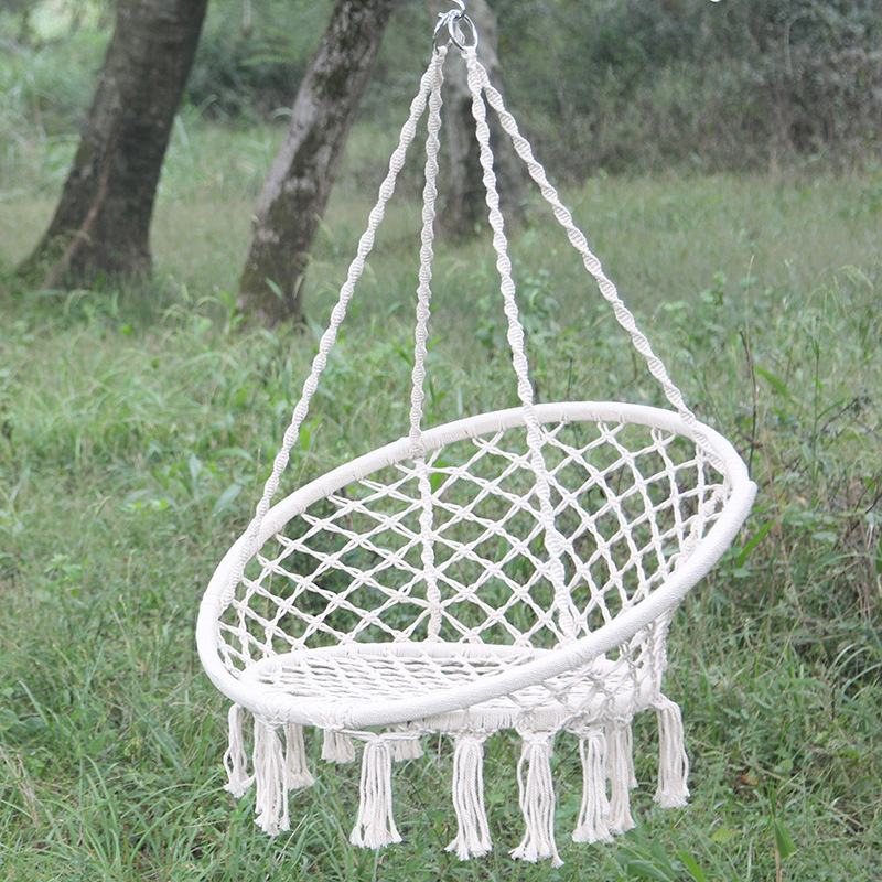 100% Cotton High Quality Beige Hanging Cotton Rope Macrame Hammock Chair