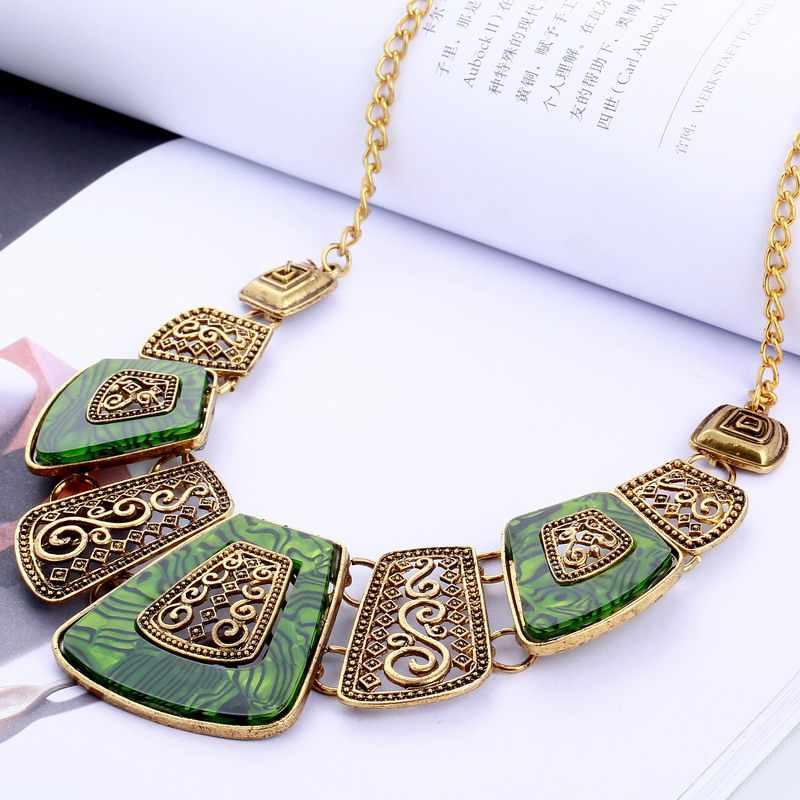 שהסיודוס הצהרת תכשיטי וינטג 'החדש צבע זהב סגסוגת כסף שרשרת קולר חרוז שרף שרשרת Bijoux אופנה נשים