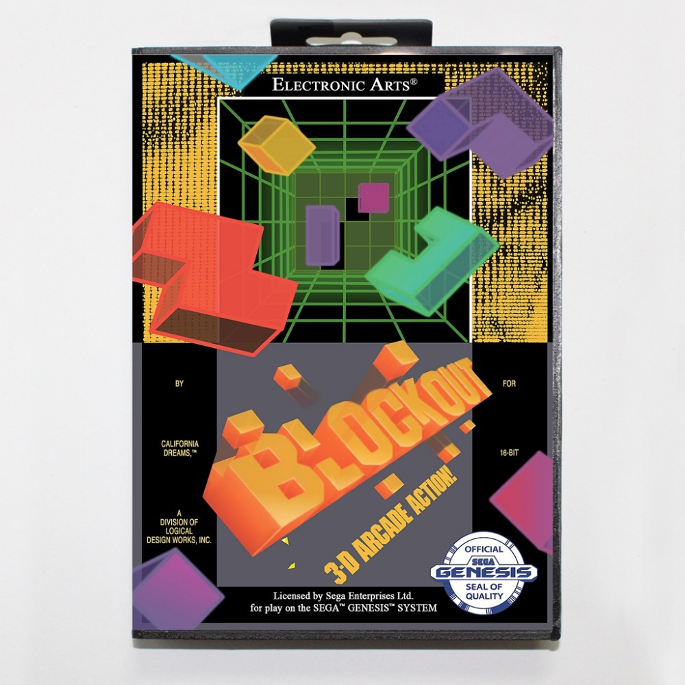 16 bit Sega MD game Cartridge with Retail box - Blockout game card for Megadrive Genesis system