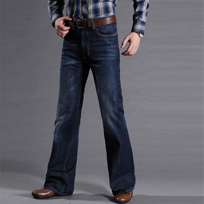 Mens Flared Jeans Boot Cut Men Regular Fit High Waist Denim Pants Male Classic Designer Denim Jeans Pants Bell Bottom Trousers