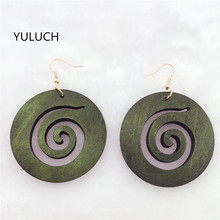 1 Pair Earring for Woman African 3 Colors Red Green Brown Color Earrings New Design Quality Wood Earrings Latest New Arrival