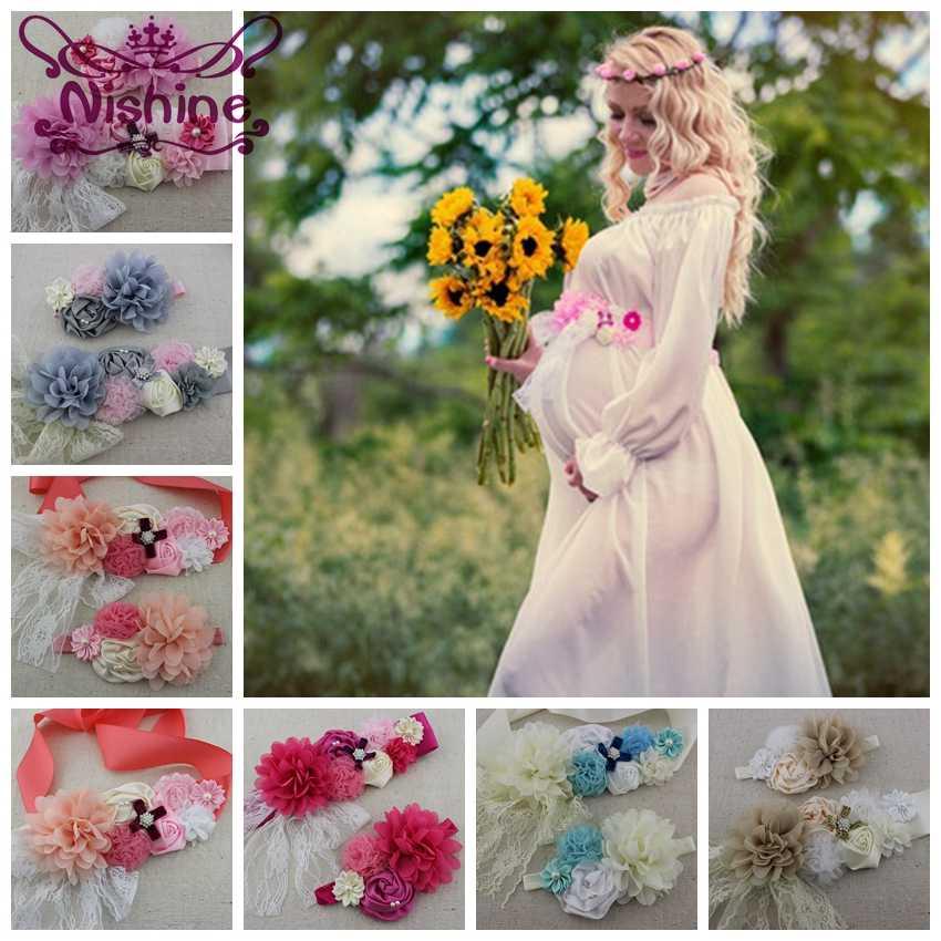 Nishine novo meninas mulheres faixa com faixa elástica conjunto de chiffon flor grávida cinto de meninas faixa de maternidade foto prop