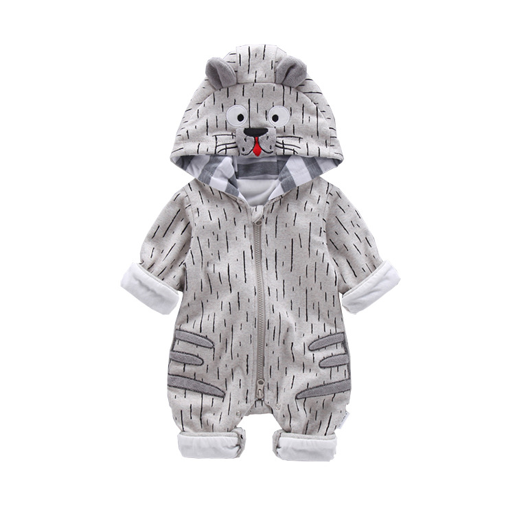 Autumn Newborn Baby Clothes Cartoon Tiger Kid Jumpsuit Thicken Toddler Boy Romper Hooded Baby Jumpsuits Outfits Baby Girl Romper