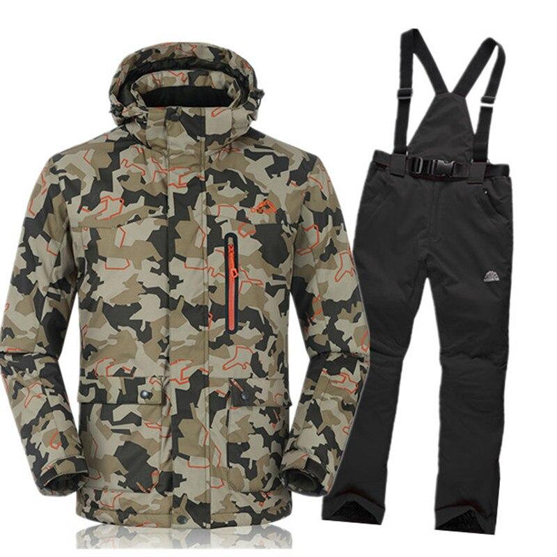 Prix pour Célèbre Marque de Ski Costume de Ski Veste + Pantalon pour Hommes Coupe-Vent Imperméable Snowboard Costume Manteau et Pantalon D'hiver Thermique Vêtements