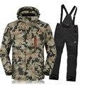 Famosa Marca De Esquí Traje Chaqueta + Pant para Hombre Impermeable A Prueba de Viento de Snowboard de Esquí Chaqueta y Pantalones de Invierno Ropa Térmica