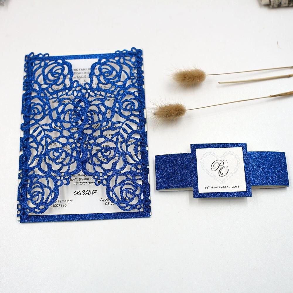 จัดส่งฟรี 100 ชุดปรับแต่ง Gold/Silver/Blue Glitter Hollow ดอกไม้ตัดเชิญการ์ดเชิญงานแต่งงาน convites + Band-ใน การ์ดและบัตรเชิญ จาก บ้านและสวน บน   1