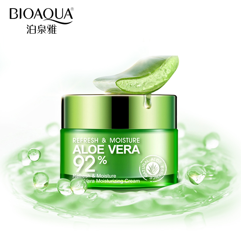 BIOAQUA Aloe Vera Gel Moisturizing Deep Hydrating Face Cream Anti Wrinkle Anti-Aging Whitening Day Cream 50g Sleeping Maskg bioaqua brand skin care men deep moisturizing oil control face cream hydrating anti aging anti wrinkle whitening day cream 50g