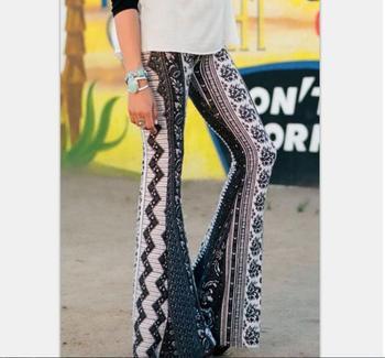 Vintage Flare Pants Women Bohemian Fashion Loose Long Pant Tribal  Print Wide Leg Trousers Bell Bottom Leggings Hippie Pants high waist leopard print flare leggings serpentine print women fashion sexy bodycon trousers club pants thin wide leg pants