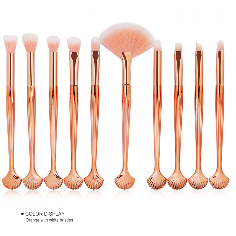 10Pcs Makeup Brushes Set Power Eye Shadow Brow Lip Concealer Fan Beauty Cosmetic Eyes Face Shell Make Up Brush Tool Kit 11.11 27