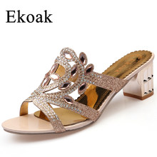 Ekoak New 2018 Summer Fashion Flower Rhinestone Cut outs Women High Heel  Sandals Ladies Party Dress Shoes Woman Size 36 41 -in High Heels from Shoes  on ... 05183cf851af