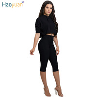 HAOYUAN Two Piece Set 2017 Summer Sexy Woman Tracksuit Clothes Suit Outfits Crop Hooded Top And