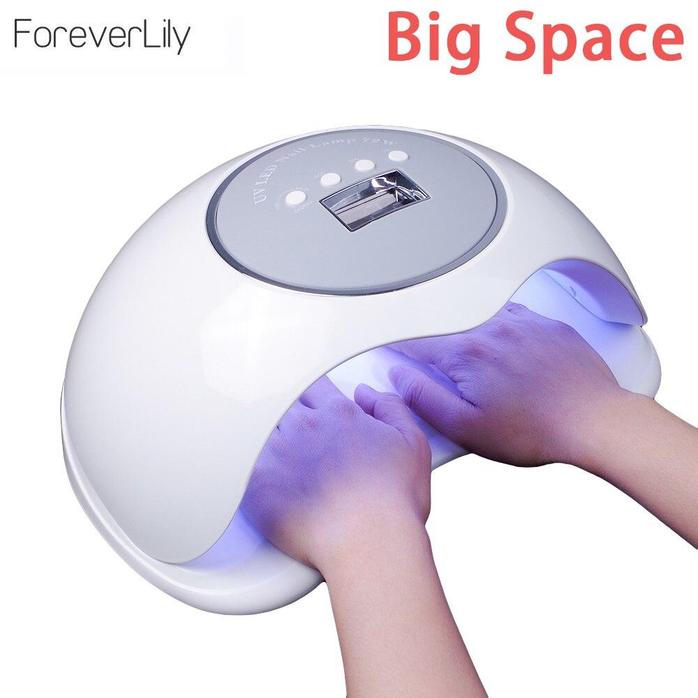 2 main Grand Espace 72 w Nail Sèche-pour Tous Les Gels Plus Haute Puissance Rapide Séchage UV LED Nail Lampe pour durcissement Gel Polish Lampe de Glace Pour Nail