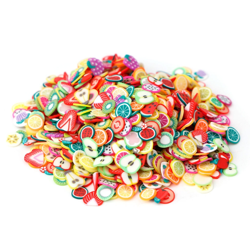 <font><b>1000</b></font> pcs/1 bag New 3D Polymer Clay Tiny Fimo Fruit slices Wheel Nail Art <font><b>DIY</b></font> Designs Wheel Nail Art Decorations Wholesale image