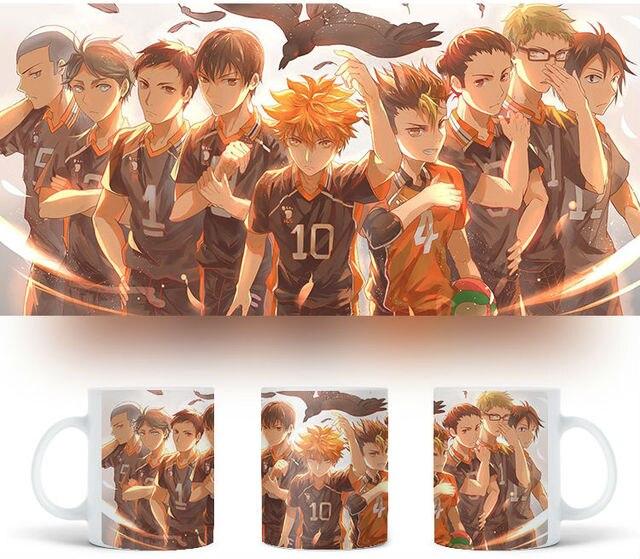Mug cup water glass for Anime Haikyuu Azumane Asahi & Tsukishima kei & Sugawara koushi & Hinata Syouyou & Kuroo Tetsurou
