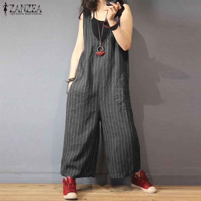 2020 ZANZEA Plus Size Women Striped Jumpsuit Sleeveless Loose Work Office Bodysuits Casual Wide Leg Playsuits Elegant Long Mono