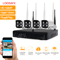 LOOSAFE 4CH CCTV Surveillance Kit Wireless 1080P NVR 4 Pcs Wifi IP CCTV Security Camera 2