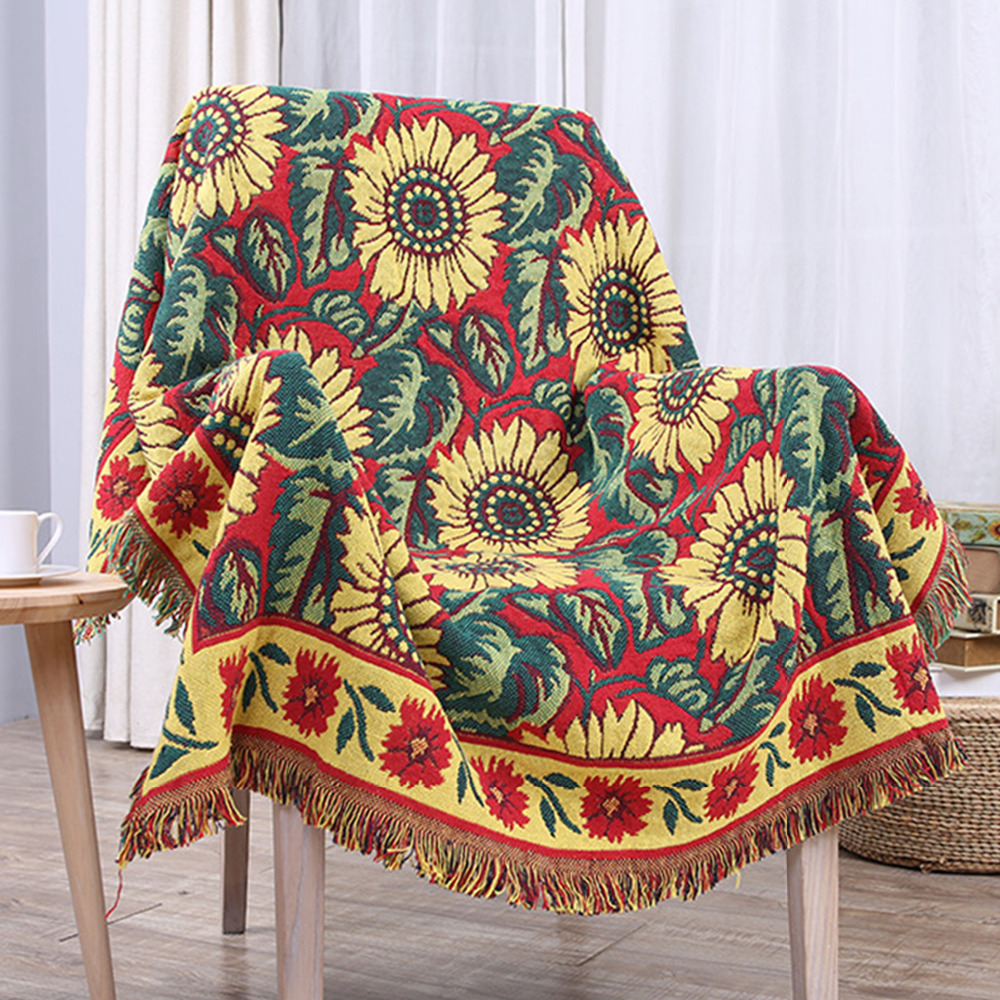 Bohemian 100% Cotton Floral blanket Slip-resistant Vintage Sunflower Sofa Towel Cover Blankets Piano Cover