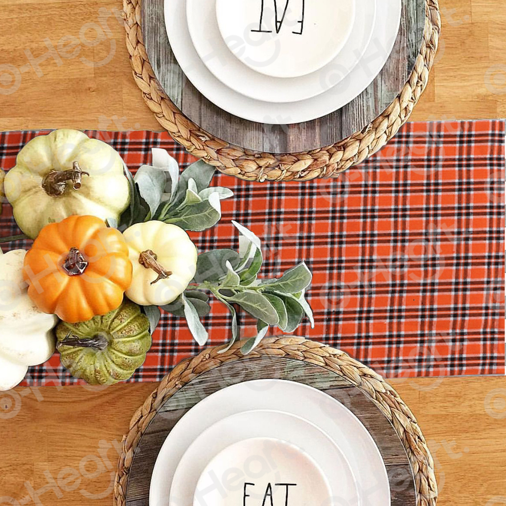 OHEART Orange Buffalo Plaid Table Runners Waterproof Double Sided Table Runner Parties Everyday Use Halloween Party Decoration in Table Runners from Home Garden