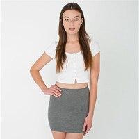 AA Classic Buttons Crop Top Women Cute Stripe Short Sleeve T Shirt Short Design High Waist