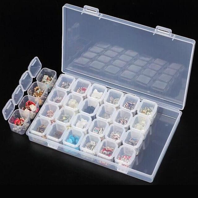 28 Slots Empty Plastic Storage Box Nail Art Rhinestone Jewelry ...