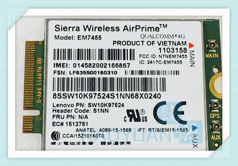 RAOYUAN 4G LTE WWAN CARD for Sierra Wireless Airprime EM7455 GOBI6000 FRU:S1NN