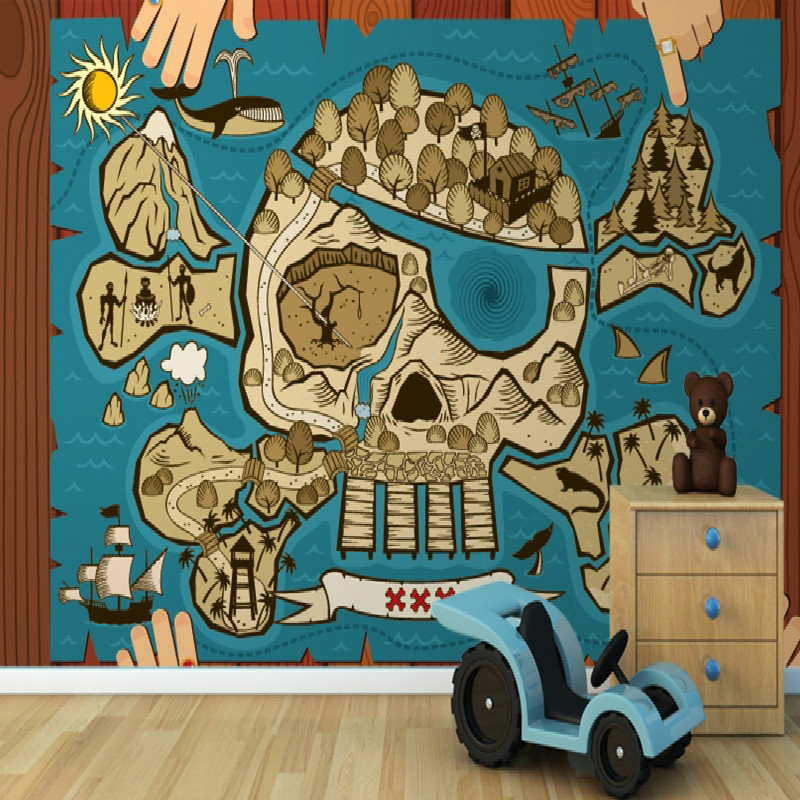 Mural treasure map childrens wallpaper murals 3d wallpaper for Child mural wallpaper