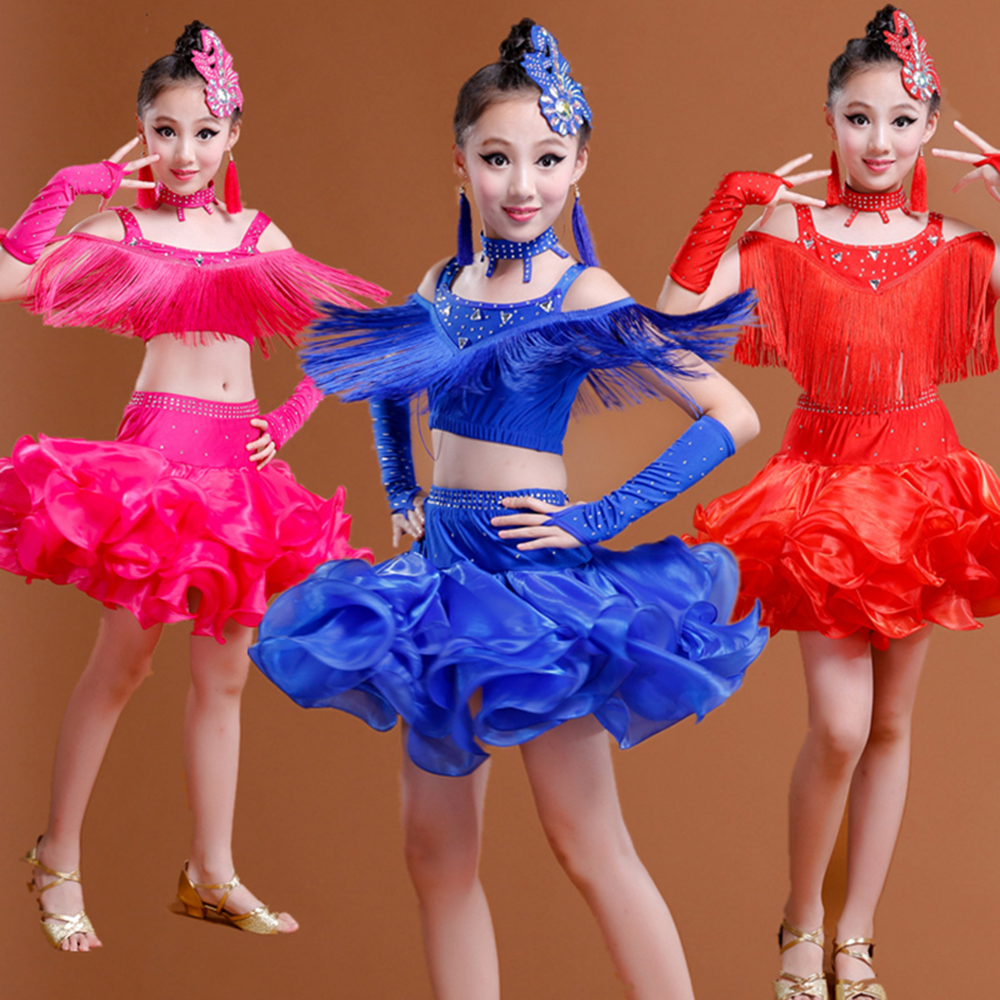 Latin Dance Costumes 6Pcs(Dress+Headwear+HandSleeve+Earring+Collar+Short) For Kids Girl 3Colors Tassel&Rhinestone&Organza Skirt