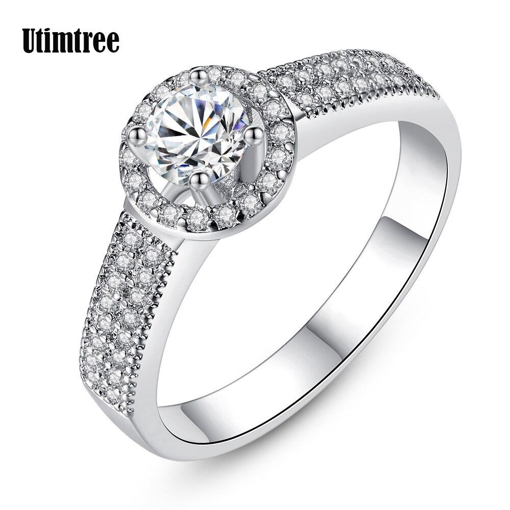Utimtree горячее обещание Обручение кольца для Для женщин Серебряный Цвет CZ Кристалл обручальное кольцо Anillos Bijoux Bague Роковой Ringen