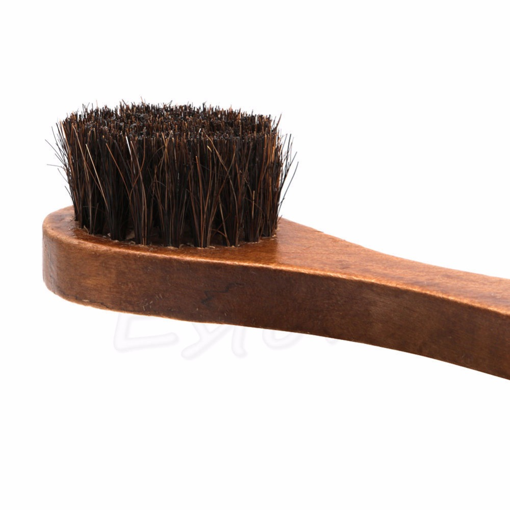 Long Wood Handle Bristle Brush Shoe Boot Polish Shine Cleaning Dauber PVCA