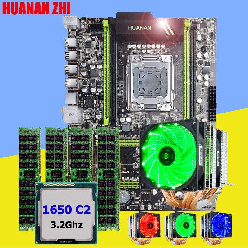 HUANAN ZHI X79 de bureau carte mère avec SSD M.2 slot CPU Xeon E5 1650 C2 3.2 ghz 6 heatpipes refroidisseur mémoire 16g (4*4g) DDR3 RECC