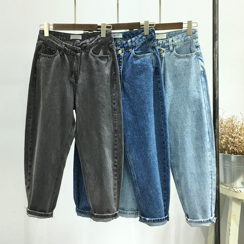 NEW Women's Jeans Wide Leg High Waist Jeans BF Pants Loose Casual Trousers Irregular Denim Pants Plus Size Jeans For Women Q18