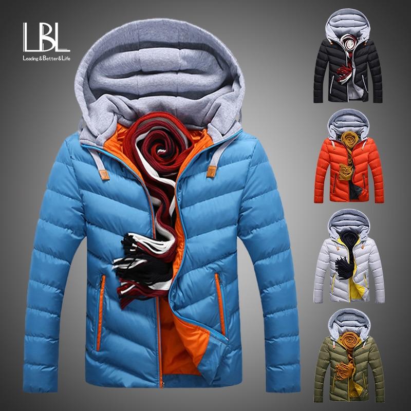 New Men Parkas Winter Warm Down Windbreaker Jacket 2019 Casual Cotton Padding Parka Male Casual Slim Fit Hooded Jacket Coat Men