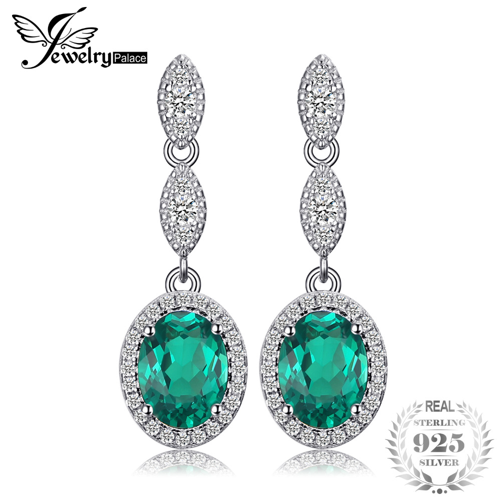 JewelryPalace Oval 2.87ct Created Emerald Drop Earrings 925 Sterling Silver Brand Fine Jewelry Vintage Trendy Earrings For Women pair of trendy rhinestone oval leaf earrings for women page 1
