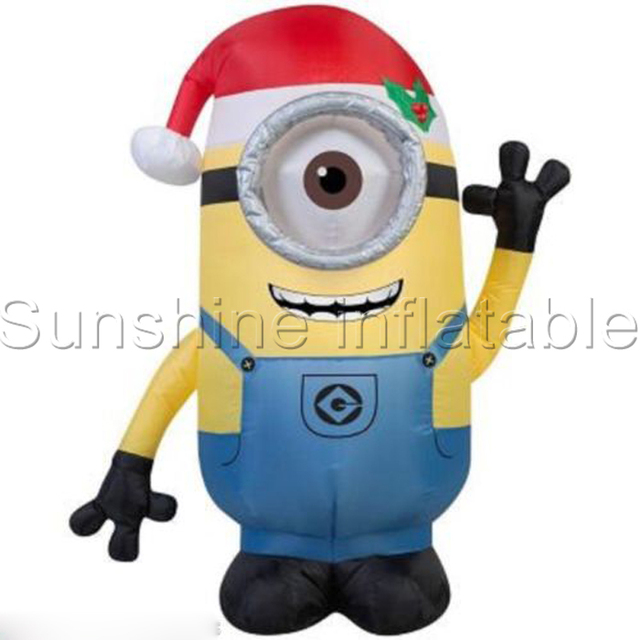 Giant Airblown Christmas Inflatable Minion One Eye Double Eyes With Santa Hat For Holiday Decoration