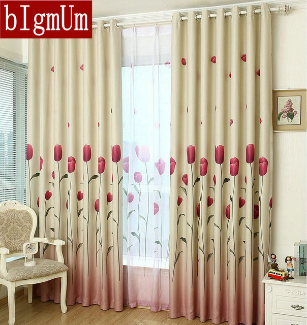 Rustic Window Curtains For Living Room Blackout Kitchen Summer Pastoral Size Customized Tulip Pattern