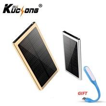 KUCHONG 12000mah Solar Power Bank Portable Ultra-thin External Charger Backup Dual USB Charger for Cellphone Fast Shipping