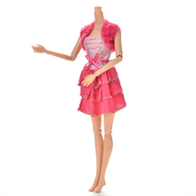 TOYZHIJIA New 2Pcs/Set Fashion Doll Clothing Suits For Barbie Sequin Ball Grown Dress With Shawl Suits for DollRose Color