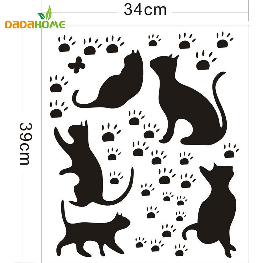free shipping popular cats and paw prints wall sticker wall mural home decor room kids decals wallpaper adesivo de parede in wall stickers from home