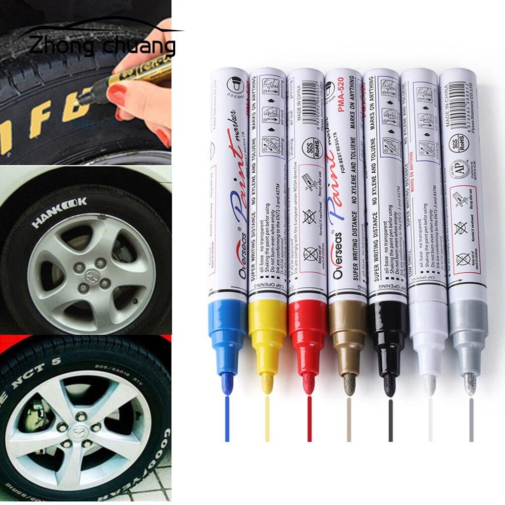 Car Shape Colorful Waterproof Pen Car Tire Tire Tread  Metal Permanent Paint Mark Graffiti Oily Marker