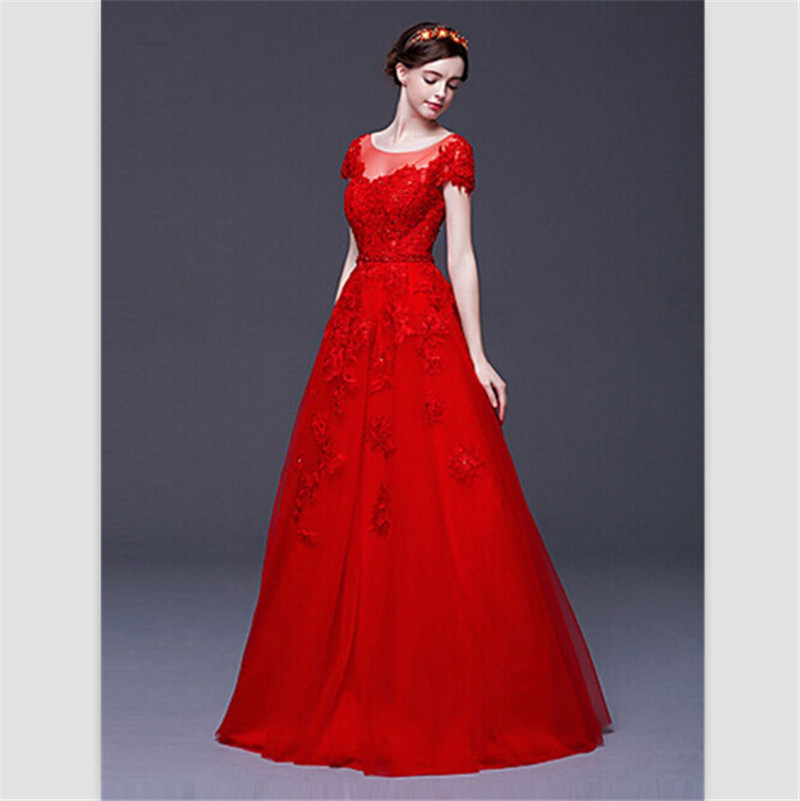 Red Wedding Dresses 2017 Cap Sleeve Lace Gowns Custom Scoop Floor Length Up Bride Vestido De Noiva Princesa On Aliexpress Alibaba