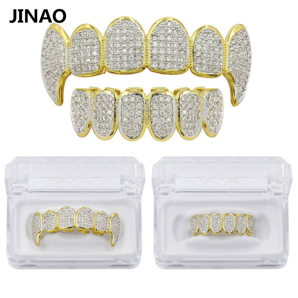 JINAO Pure Gold Color Plated Teeth Grillz All Iced Out Exclusive Micro Pave CZ Stone Top&Bottom Men Women Mouth Gold Grillz set