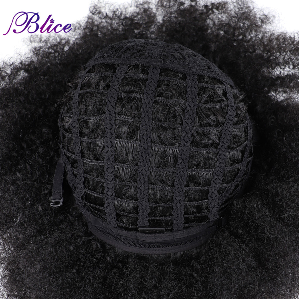 Image 5 - Blice Afro Kinky Curly Synthetic 16 Inch Wigs Kanekalon Heat Resistant Africa American Cosplay Daily Big Hair WigSynthetic None-Lace  Wigs   -
