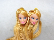 2pcs/lot DIY Kids Toy Golden Hair Princess Doll Head Doll Accessories For Barbie Doll For 1/6 BJD Doll House