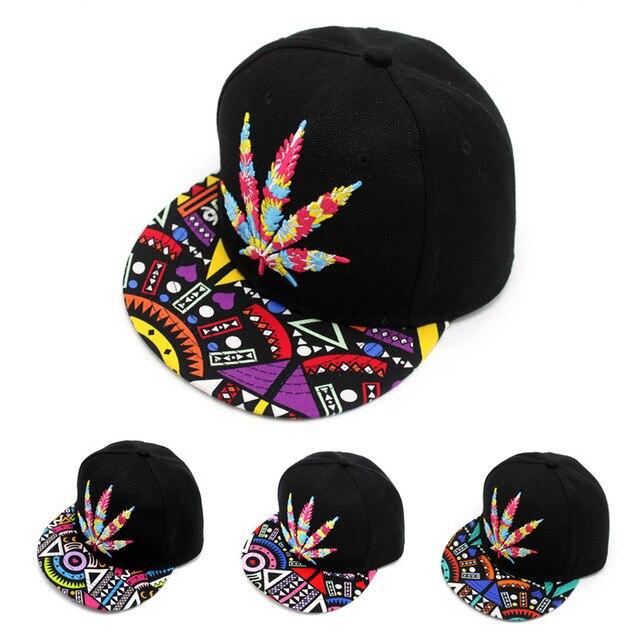 a0715cd0e9d Hot Flat Bill Strapback Baseball Caps Colorful Graffiti and Maple Leaf  Patchwork Design Snapback Hats Unisex Casual Gorras