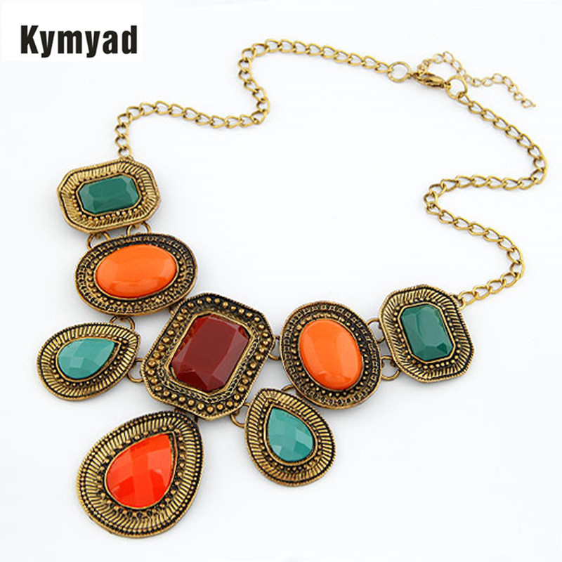 Kymyad  Exaggerated Choker Statement Necklace Colorful Geometic Resin Stone Necklaces & Pendants Vintage Women Accessories